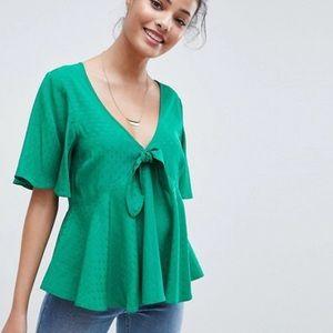 ASOS Tiny Hearts Flowy Green Blouse 6